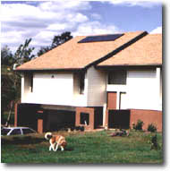 Solar home with dog.